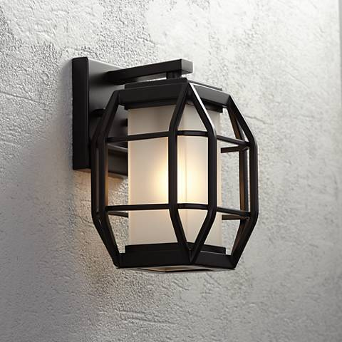 "Gibson 9 3/4"" High Bronze Geometric Caged Outdoor Wall Light"