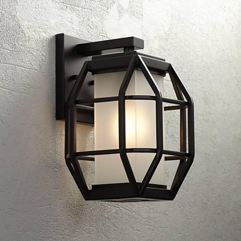 "Gibson 13 1/2""H Bronze Geometric Caged Outdoor Wall Light"