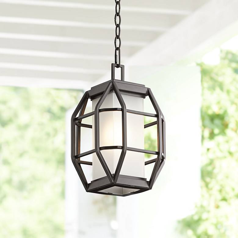 "Gibson 14"" High Bronze Caged Outdoor Hanging Light"