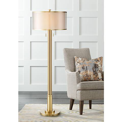 Possini Euro Granview Tall Floor Lamp with Double Shade