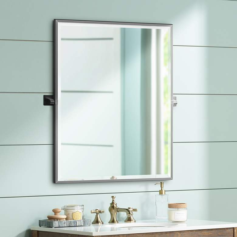 "Elevate Matte Black 27 3/4"" x 32 1/2"" Framed Mirror"
