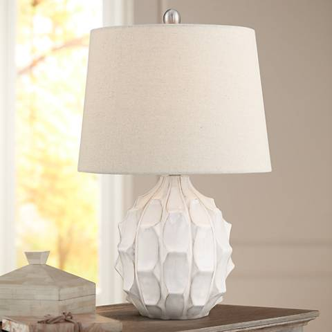 Ellen Mid-Century White Ceramic Table Lamp