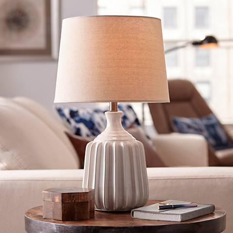 Logan Ribbed Ceramic Modern Table Lamp by 360 Lighting