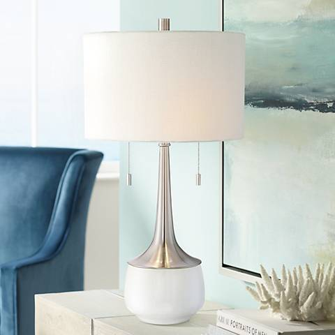 Wendy Ceramic and Brushed Steel 2-Light Modern Table Lamp