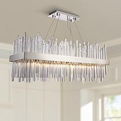 "Dallas 36""W Chrome Crystal Kitchen Island Light Chandelier"