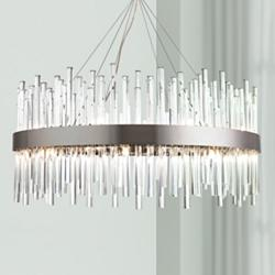 "Dallas 32"" Wide Chrome and Crystal Modern Chandelier"