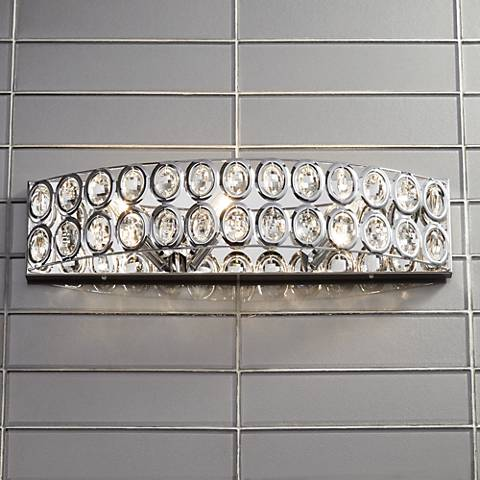 "Aira Chrome and Crystal 22"" Wide Bathroom Wall Light"