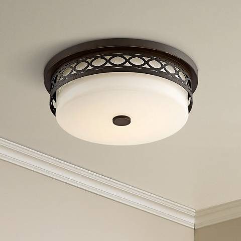 "Elodie 13 3/4"" Wide Bronze Drum LED Ceiling Light"