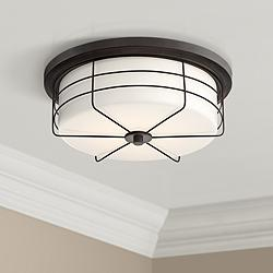 "Lovett 14"" Wide Matte Black LED Ceiling Light"