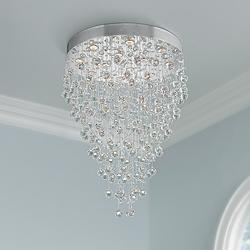 "Galaxy 28"" Wide Chrome and Crystal 12-Light Chandelier"