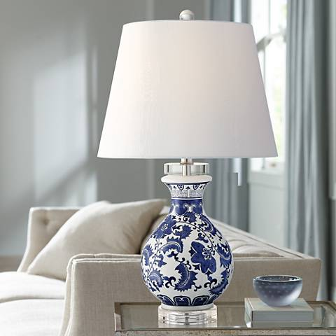 Megan Ivory and Blue Ceramic Accent Table Lamp