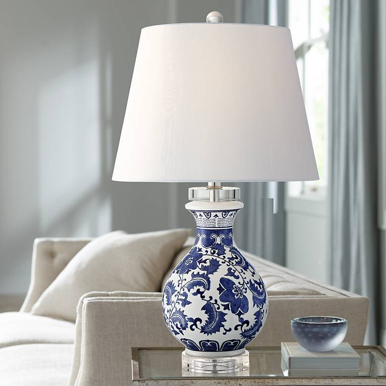 Megan Ivory And Blue Ceramic Accent Table Lamp 39v70