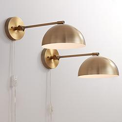 Brava Antique Brass Down-Light Wall Lamp Set of 2
