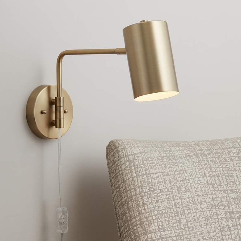 "Carla Brushed Brass 12"" High Down-Light Swing Arm"