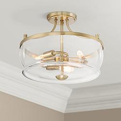 "Possini Euro Alia 14"" Wide Warm Brass 3-Light Ceiling Light"