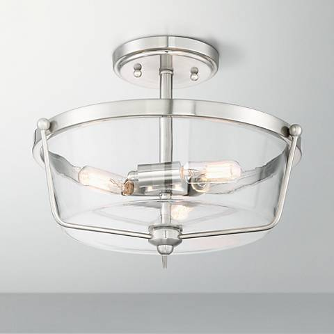 "Possini Euro Martin 12 3/4""W Brushed Nickel Ceiling Light"