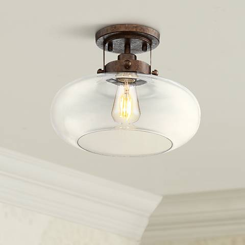 "Chester 12"" Wide Glass and Rustic Bronze Ceiling Light"