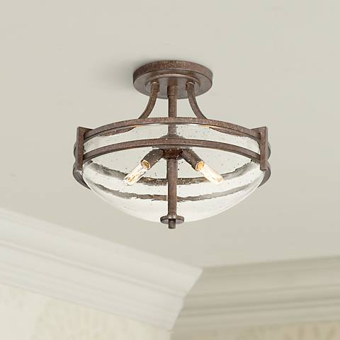 "Oak Valley Collection 18"" Wide Clear Glass Ceiling Light"