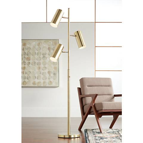 Possini Euro Canasta Trac Tree Floor Lamp Satin Brass