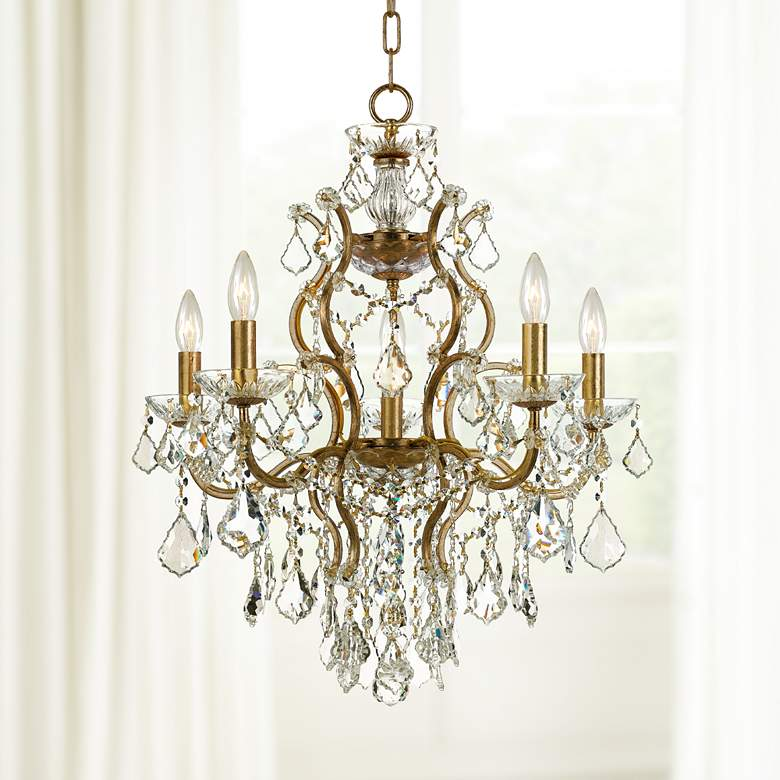 "Filmore 23"" Wide Antique Gold 6-Light Crystal Chandelier"