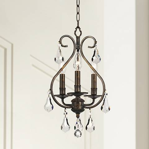 "Ashton 10"" Wide English Bronze 3-Light Mini Chandelier"