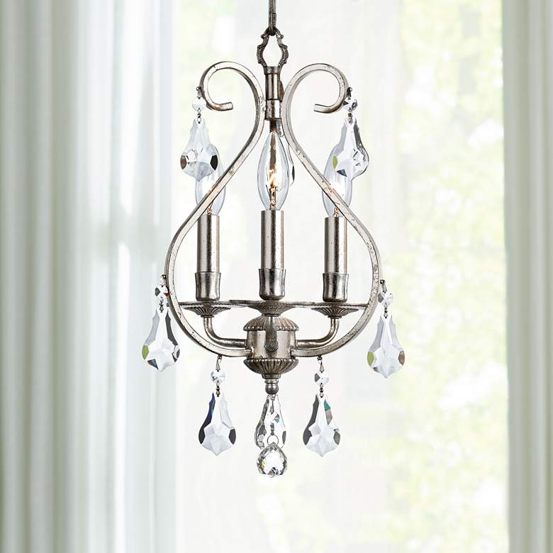 "Crystorama Ashton 10""W Olde Silver 3-Light Mini Chandelier"