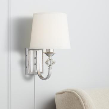 Possini Euro Galloway Silver Leaf Pin-Up Wall Lamp