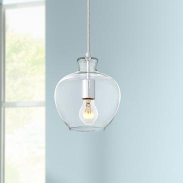"Possini Euro Lacuna 7 1/2"" Wide Polished Nickel Mini Pendant"