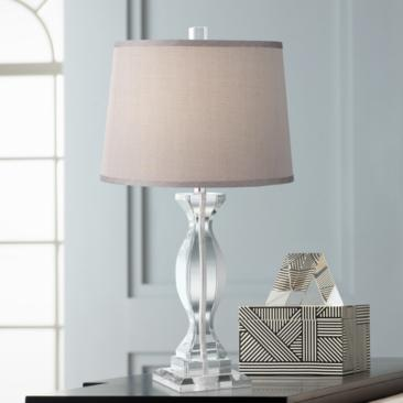 Alessa Crystal Table Lamp with Gray Shade