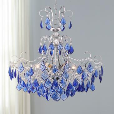 "Alpine 26"" Wide Chrome and Blue Crystal Chandelier"