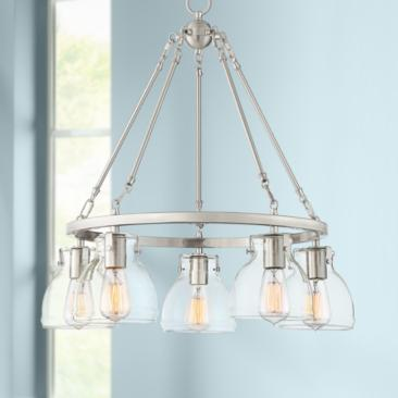 "Possini Euro Bellis 24"" Wide Brushed Nickel 5-Light Pendant"