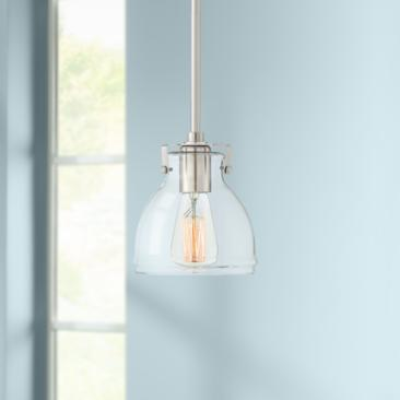 "Possini Euro Bellis 6 1/2"" Wide Brushed Nickel Mini Pendant"