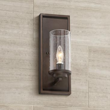 "Nobel 14"" High Glass and Bronze Wall Sconce"