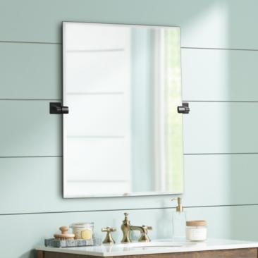"Elevate Matte Black 27 1/2"" x 31 1/2"" Frameless Wall Mirror"
