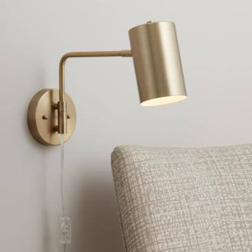 Carla Polished Brass Down-Light Swing Arm Wall Lamp