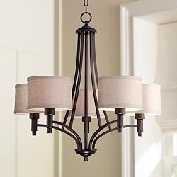 "La Pointe 26"" Wide Oatmeal Linen Shade Chandelier"