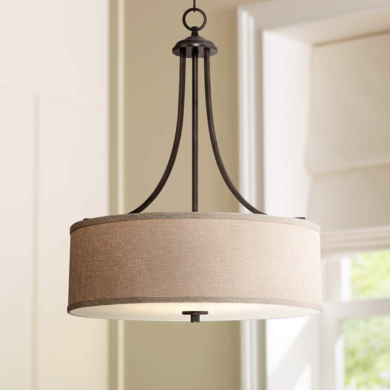 "La Pointe 19 1/2"" Wide Oatmeal Linen Shade"