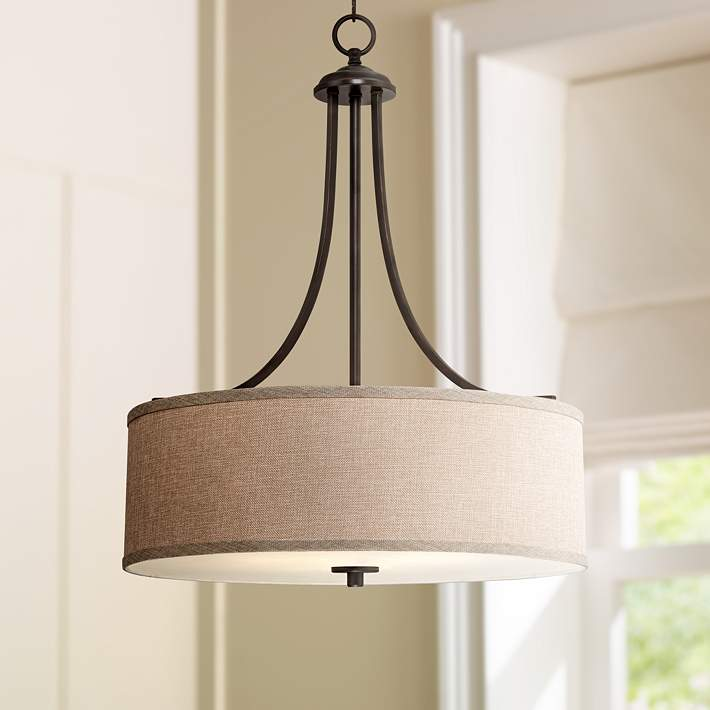 La Pointe 19 1 2 Wide Oatmeal Linen Shade Pendant Light