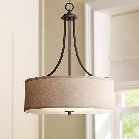 kitchen table pendant light la pointe 19 1 2 quot wide oatmeal linen shade pendant light 6224