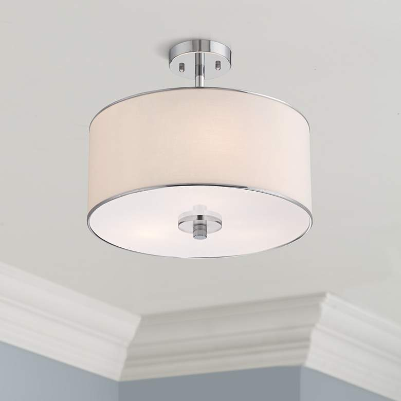 "Elsa 16"" Wide White Fabric Drum Shade Ceiling Light"