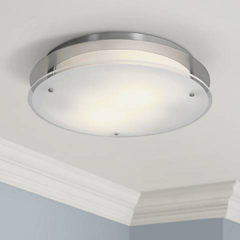 "Access Vision Round 14"" Wide Brushed Steel Ceiling Light"