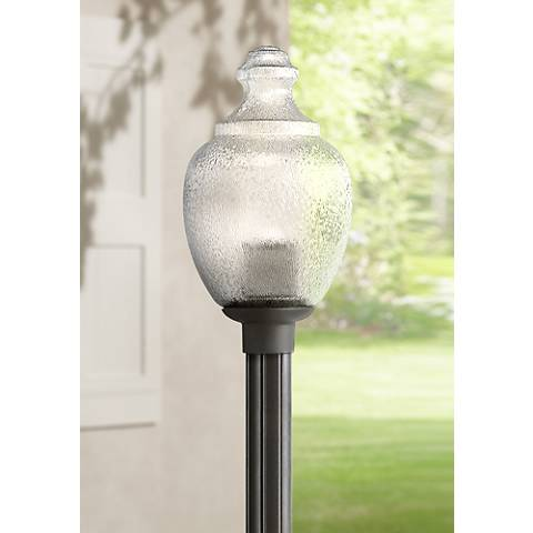 Globe and acorn 20 high black outdoor post light 3d315 lamps plus globe and acorn 20 high black outdoor post light aloadofball Choice Image