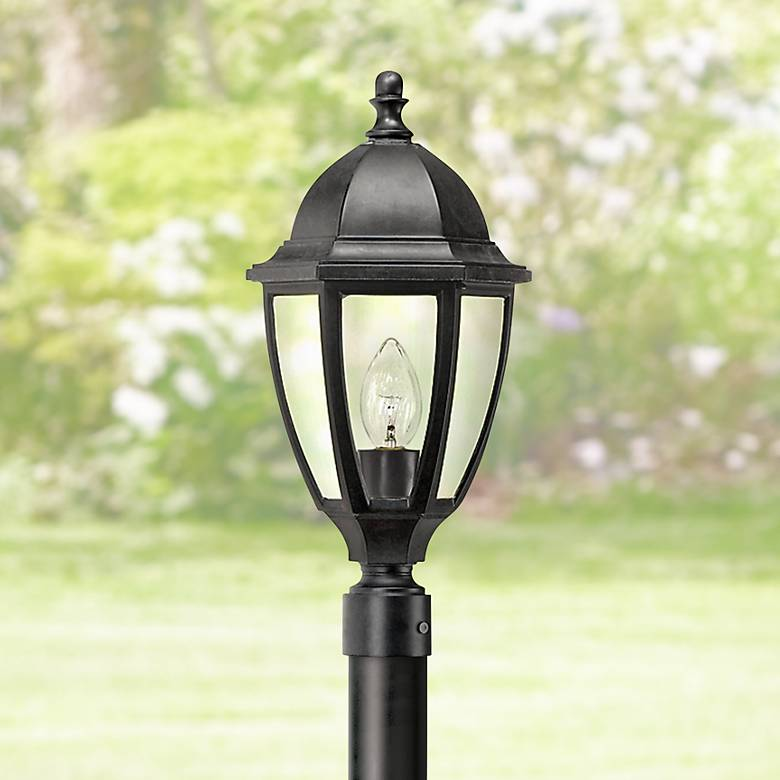 "Everstone 21 3/4"" High Black Outdoor Post Lantern"