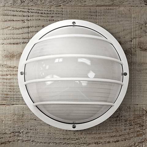 Wave Nautical Round White Outdoor Ceiling or Wall Light