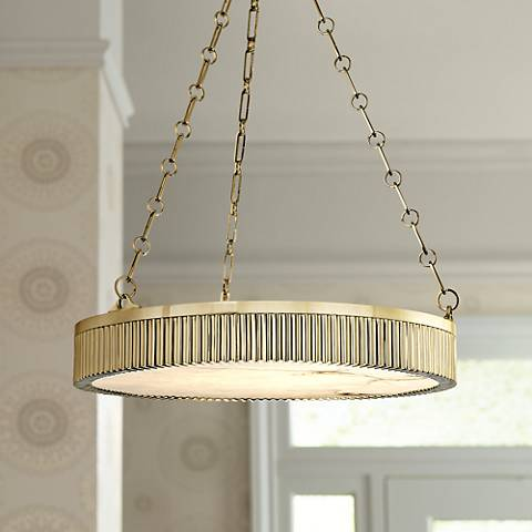 "Hudson Valley Lynden 22"" Wide Aged Brass Pendant"