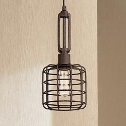 "Industrial Cage 7"" Wide Rust Metal Mini Pendant Light"
