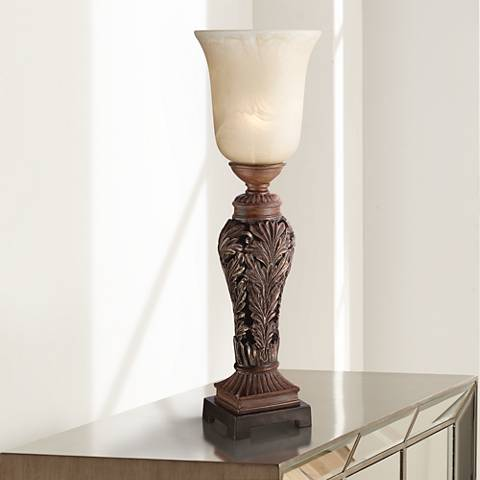 "Double Bronze 24"" High Console Lamp by Regency Hill"