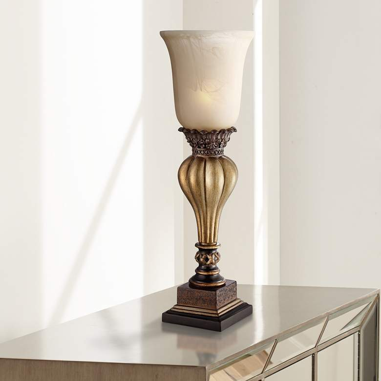 Sattley Gold Finish Console Lamp with Alabaster Glass