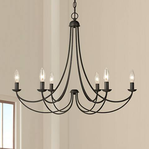 "Quoizel Mirren 28"" Wide Imperial Bronze 6-Light Chandelier"