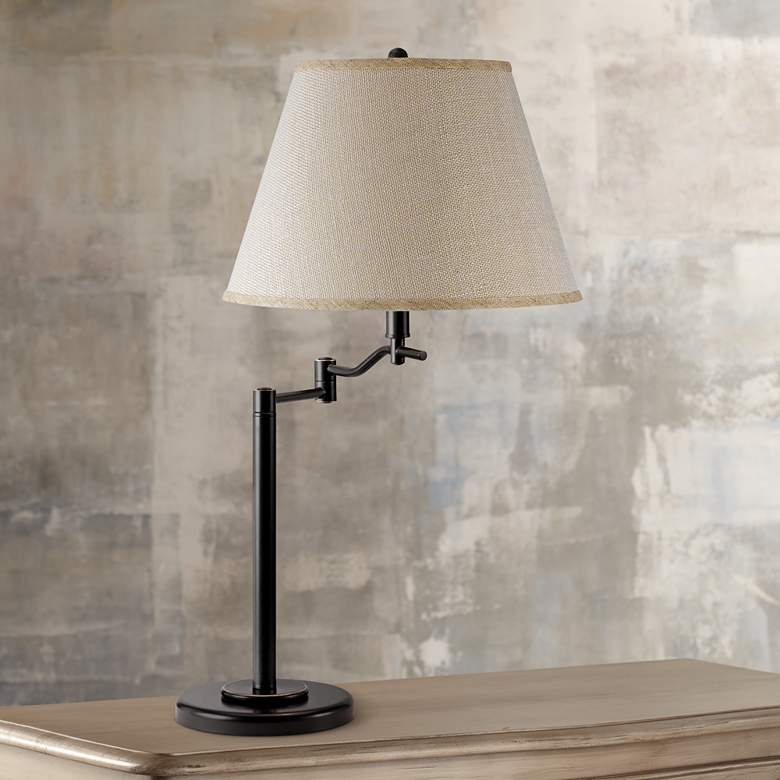 Stila Dark Bronze Swing Arm Table Lamp